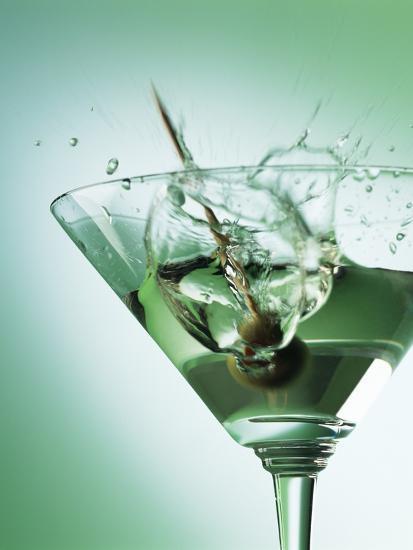 Martini with Olive Splash-Steve Lupton-Photographic Print