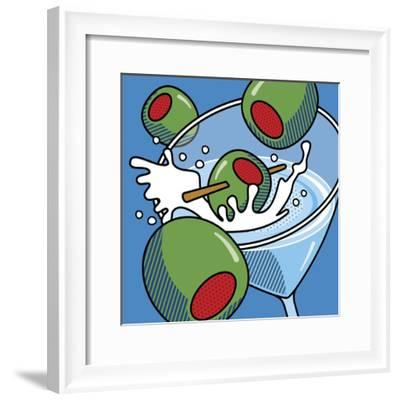 Martini With Olives On Blue-Ron Magnes-Framed Giclee Print