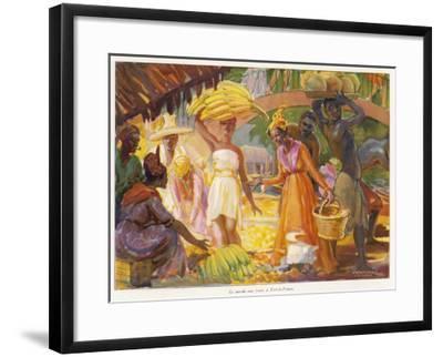 Martinique: Colourful Scene at the Fort De France (Fruit Market)--Framed Giclee Print