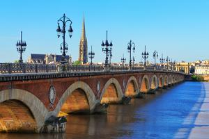 Bordeaux River Bridge with St Michel Cathedral by MartinM303