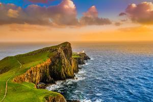 Colorful Ocean Coast Sunset at Neist Point Lighthouse, Scotland by MartinM303