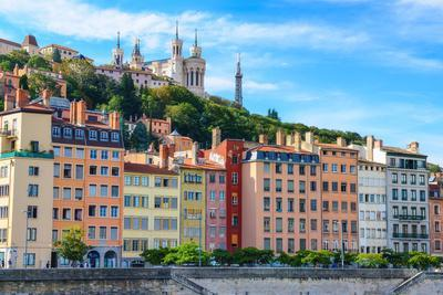 Lyon Colorful Houses View from Saone River