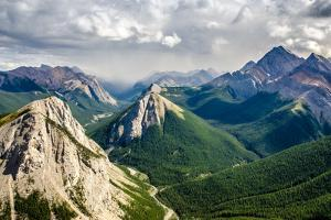 Mountain Range Landscape View in Jasper Np, Canada by MartinM303