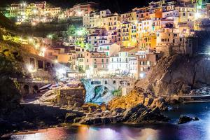 Night View of Colorful Village Manarola in Cinque Terre by MartinM303