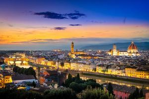 Scenic View of Florence after Sunset from Piazzale Michelangelo by MartinM303