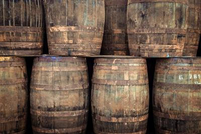Stacked Old Whisky Barrels