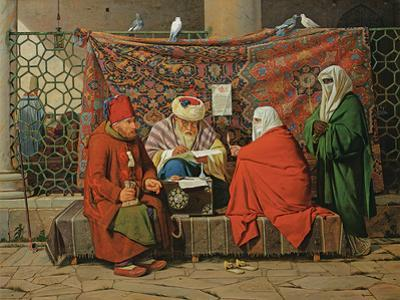 A Turkish Notary Drawing Up a Marriage Contract in Front of the Kilic Ali Pasha Mosque, Tophane,…