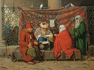 A Turkish Notary Drawing Up a Marriage Contract in Front of the Kilic Ali Pasha Mosque, Tophane,… by Martinus Rorbye