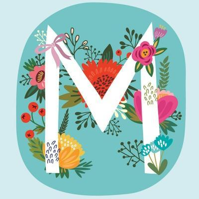 Vector Hand Drawn Floral Monogram with Vintage Amazing Flowers! Letters M Perfect for Backgrounds O