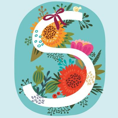 Vector Hand Drawn Floral Monogram with Vintage Amazing Flowers! Letters S Perfect for Backgrounds O