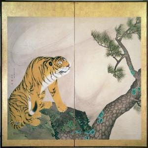 Tiger Screen, Japanese, 1781 (Ink, Colour and Gold on Paper) by Maruyama Okyo