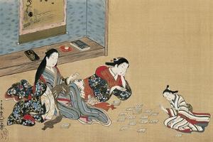 Women Playing Cards by Maruyama Okyo
