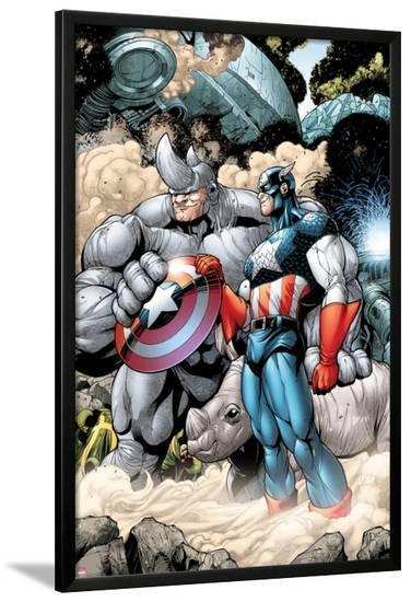 Marvel Adventrues Super Heroes No.5: Captain America and Rhino Holding the Shield-Chris Cross-Lamina Framed Poster