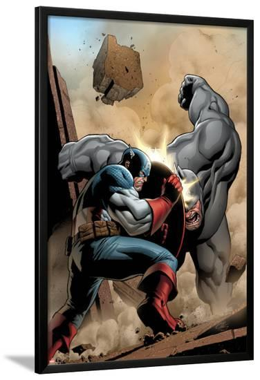Marvel Adventrues Super Heroes No.5 Cover: Captain America and Rhino Fighting-Clayton Henry-Lamina Framed Poster