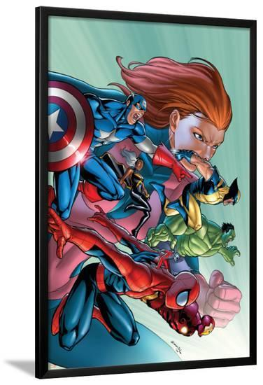 Marvel Adventures Avengers No.32 Cover: Spider-Man, Captain America, Wolverine and Hulk-Salvador Espin-Lamina Framed Poster