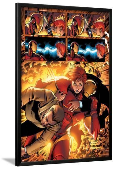 Marvel Adventures Iron Man No.3 Group: Iron Man, Pepper Potts and Virginia-Ronan Cliquet-Lamina Framed Poster