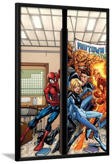 Marvel Adventures Spider-Man No.39 Cover: Spider-Man, Fatastic Four-Patrick Scherberger-Lamina Framed Poster