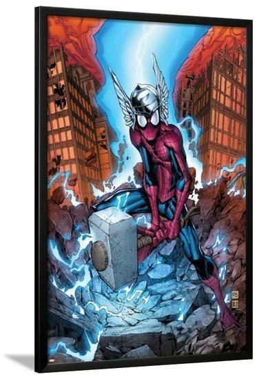 Marvel Adventures Spider-Man No.40 Cover: Spider-Man-Patrick Scherberger-Lamina Framed Poster