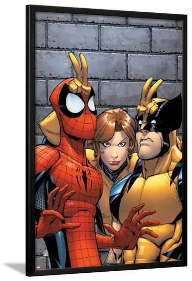 Marvel Adventures Spider-Man No.7 Cover: Spider-Man, Wolverine, and Shadowcat Standing-Patrick Scherberger-Lamina Framed Poster