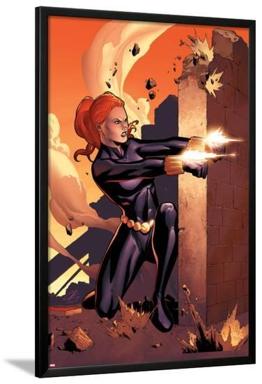 Marvel Adventures Super Heroes No.10 Cover: Black Widow Shooting-Clayton Henry-Lamina Framed Poster