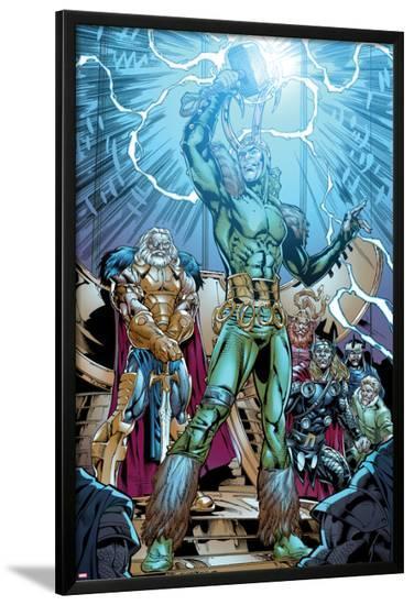 Marvel Adventures Super Heroes No.19: Loki Standing with Mjolnir-Kevin Sharpe-Lamina Framed Poster