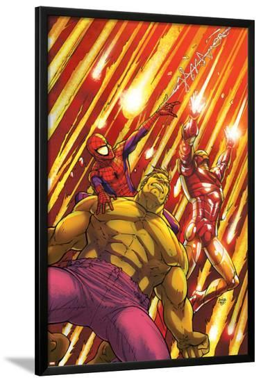Marvel Adventures Super Heroes No.2 Cover: Hulk, Spider-Man and Iron Man-Roger Cruz-Lamina Framed Poster