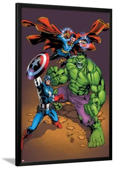 Marvel Adventures Super Heroes No.21 Cover: Captain America, Hulk, and Dr. Strange Posing-Carlo Pagulayan-Lamina Framed Poster