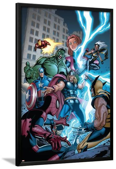 Marvel Adventures The Avengers No.31 Cover: Thor-Salvador Espin-Lamina Framed Poster