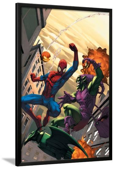 Marvel Age Spider-Man No.16 Cover: Spider-Man and Green Goblin-Roger Cruz-Lamina Framed Poster
