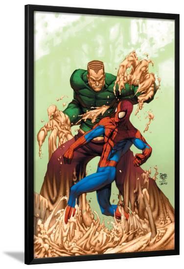 Marvel Age Spider-Man No.17 Cover: Spider-Man and Sandman-Roger Cruz-Lamina Framed Poster
