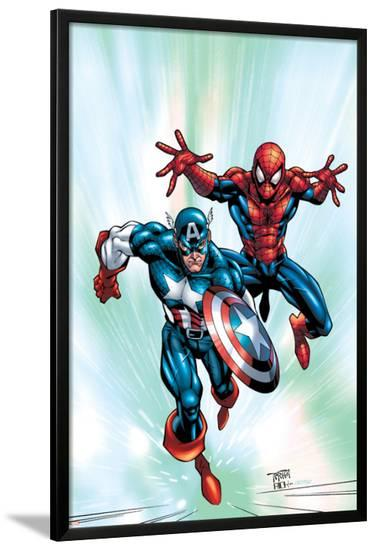 Marvel Age Team Up No.2 Cover: Spider-Man and Captain America Fighting and Flying-Randy Green-Lamina Framed Poster