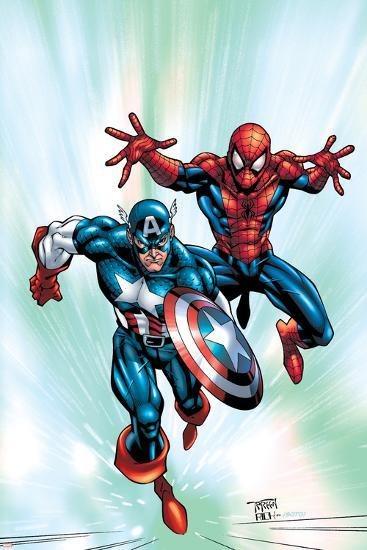 Marvel Age Team Up No.2 Cover: Spider-Man and Captain America Fighting and Flying-Randy Green-Art Print