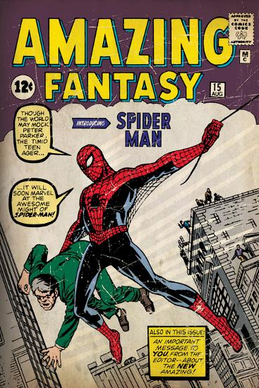 Marvel Comics Retro: Amazing Fantasy Comic Book Cover No.15, Introducing Spider Man (aged)--Wall Mural