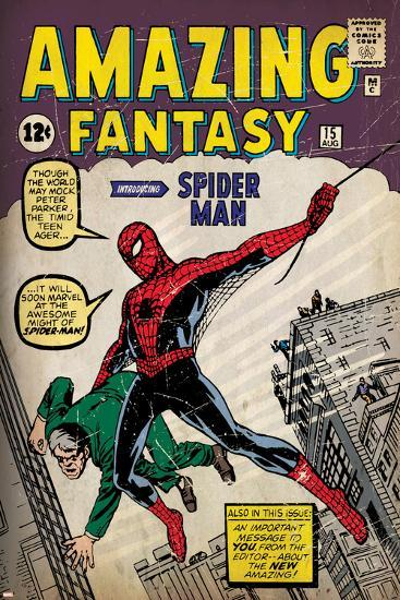 Marvel Comics Retro: Amazing Fantasy Comic Book Cover No.15, Introducing Spider Man (aged)--Poster