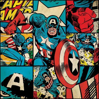 Marvel Comics Retro Badge Featuring Captain America--Art Print