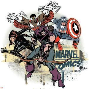 Marvel Comics Retro Badge Featuring Falcon, Captain America, Black Widow, Hawkeye