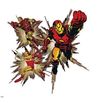Marvel Comics Retro Badge Featuring Iron Man--Art Print