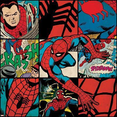 Marvel Comics Retro Badge Featuring Spider Man--Art Print