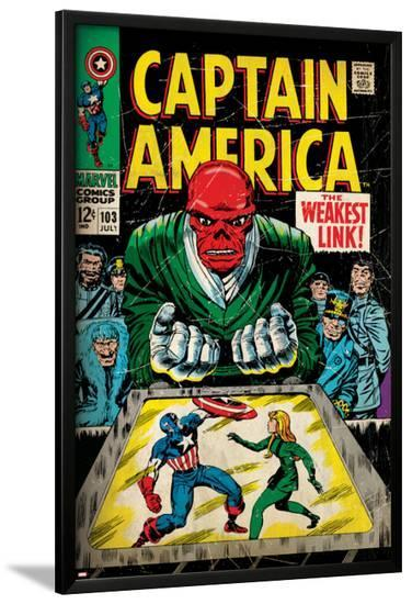 Marvel Comics Retro: Captain America Comic Book Cover No.103, Red Skull, the Weakest Link (aged)--Lamina Framed Poster