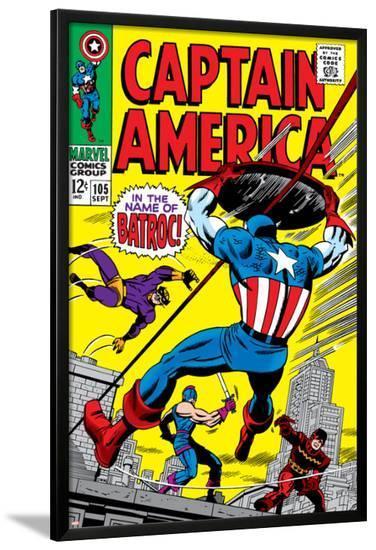 Marvel Comics Retro: Captain America Comic Book Cover No.105, Batroc--Lamina Framed Poster