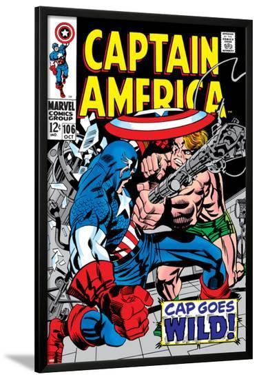 Marvel Comics Retro: Captain America Comic Book Cover No.106, Cap Goes Wild--Lamina Framed Poster