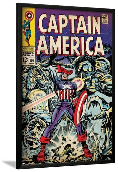Marvel Comics Retro: Captain America Comic Book Cover No.107, with Red Skull and Bucky (aged)--Lamina Framed Poster