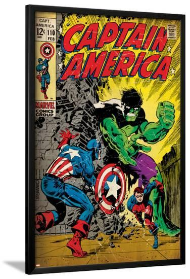 Marvel Comics Retro: Captain America Comic Book Cover No.110, with the Hulk and Bucky (aged)--Lamina Framed Poster