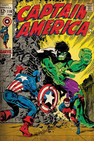 Marvel Comics Retro: Captain America Comic Book Cover No.110, with the Hulk and Bucky (aged)--Wall Mural