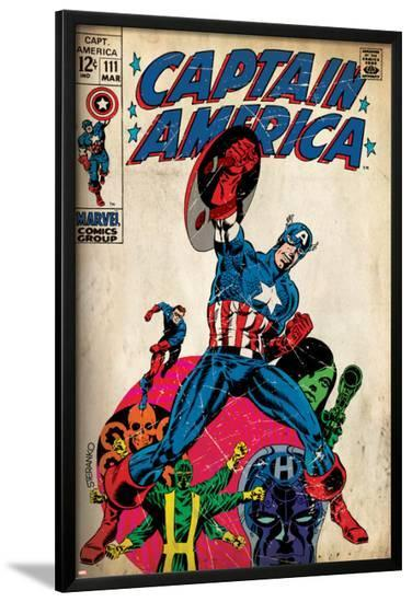 Marvel Comics Retro: Captain America Comic Book Cover No.111, with Hydra and Bucky (aged)--Lamina Framed Poster