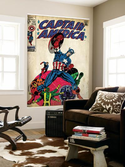 Marvel Comics Retro: Captain America Comic Book Cover No.111, with Hydra and Bucky (aged)--Wall Mural