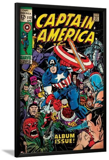 Marvel Comics Retro: Captain America Comic Book Cover No.112, Album Issue! (aged)--Lamina Framed Poster