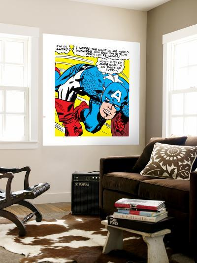 Marvel Comics Retro: Captain America Comic Panel, Monologue, I'm in Luck!--Wall Mural
