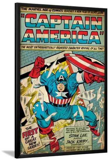 Marvel Comics Retro: Captain America Comic Panel; Smashing through Window (aged)--Lamina Framed Poster