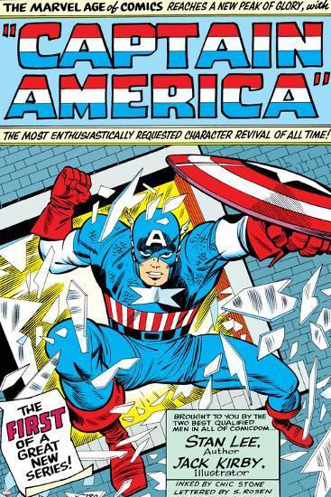 Marvel Comics Retro: Captain America Comic Panel; Smashing through Window; Red, White and Blue--Art Print